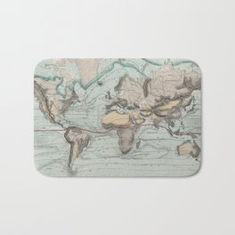 Vintage Physical Map of The World (1849) Bath Mat