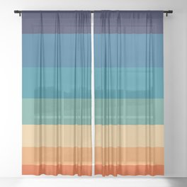 Vintage 70s Color Staggered Striped Color Block Pattern Sunset Sky Sheer Curtain