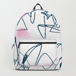 flamingo. line drawing illustration. Aloha set. Hawaii. hand drawn. pattern. Backpack