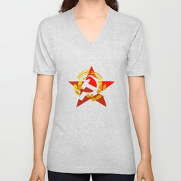 hammer and sickle symbol russia Unisex V-Neck