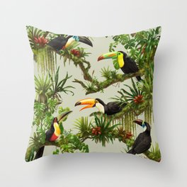 Toucans and Bromeliads (Canvas Background) Throw Pillow