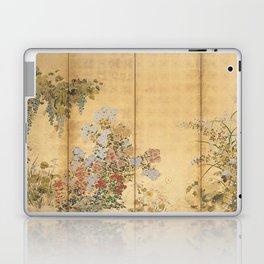 Japanese Edo Period Six-Panel Gold Leaf Screen - Spring and Autumn Flowers Laptop & iPad Skin