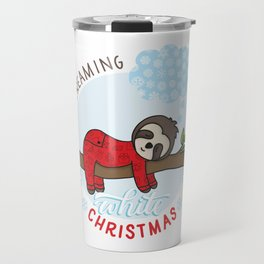 Sloth dreaming of a White Christmas Travel Mug