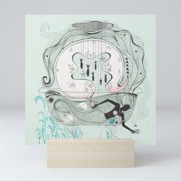 Mermaid in a bathtub. Mini Art Print
