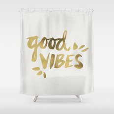 Good Vibes – Gold Ink Shower Curtain