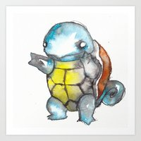 squirtle Art Prints featuring Squirtle by Wednesday Wolf