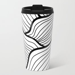 Abstract waves / black & white Travel Mug