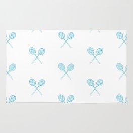 Turquoise / Teal Badminton Racket Pattern in Criss Cross Rug