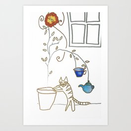 Cat in the Kitchen Art Print