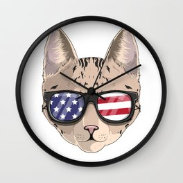 Patriotic Savannah Cat Kitty Merica American Flag Wall Clock