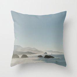 Hazy Morning at Cannon Beach, Oregon - Fine Art Film Travel Photography Throw Pillow