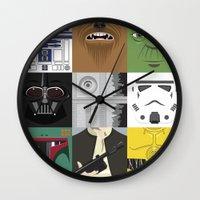 starwars Wall Clocks featuring Starwars combo by Alex Patterson AKA frigopie76