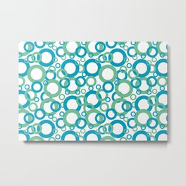 AI Aqua 098-59-30 Coloro 2021 Color Of the Year and Quiet Wave Green 072-69-24 Funky Geometric Rings Metal Print