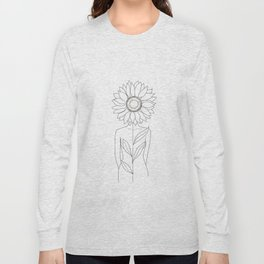 Minimalistic Line Art of Woman with Sunflower Long Sleeve T-shirt