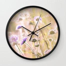 Purple Wildflowers 2 Wall Clock