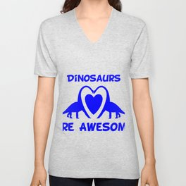 Dinosaurs Are Awesome Blue Unisex V-Neck