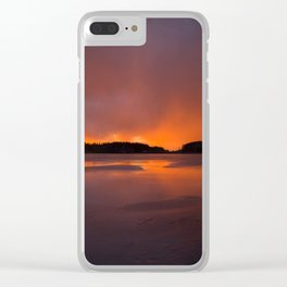 Sunset With Orange Sky Reflections On The Icy Lake #decor #society6 #homedecor #buyart Clear iPhone Case