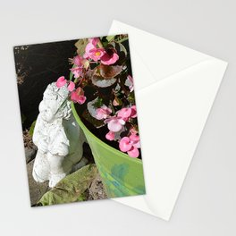 Sun kissed Garden Angel and Begonias Stationery Cards