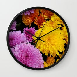 Bunches of Mums Wall Clock
