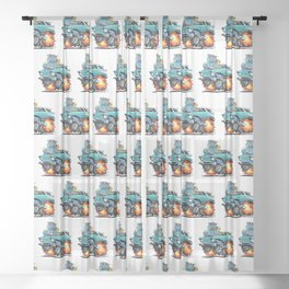 Classic Fifties Hot Rod Muscle Car Cartoon Sheer Curtain