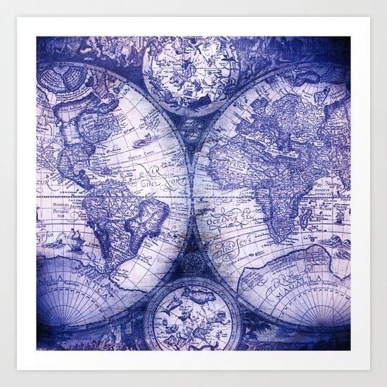 World Map Antique Vintage Navy Blue Art Print