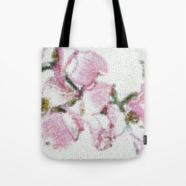 Dogwood Tree Flowers (stained glass-pink&green) Tote Bag