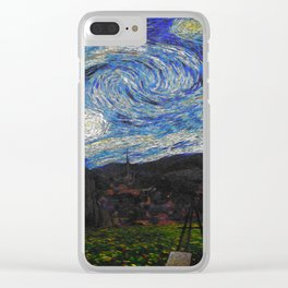 Vincent Van Gogh Under his Starry Night Wall Art Poster, Painting, Popular Art, Big Wall Art Clear iPhone Case