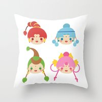 sailormoon Throw Pillows featuring Amazoness Quartet by Azul Piñeiro