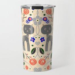 Cat Lovers Illustration // Folk Art Cat // Hand drawn Cat Design // Flower Design // Peach and Blue Travel Mug