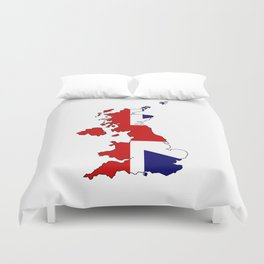 United Kingdom Map and Flag Duvet Cover