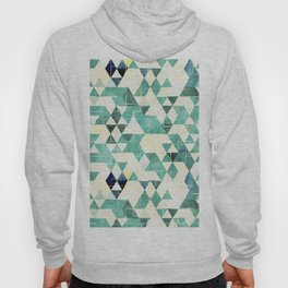 Abstract Green Triangles, Watercolor Pattern Hoody