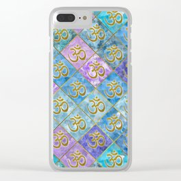 Golden OM symbol on Pastel Watercolor pattern Clear iPhone Case