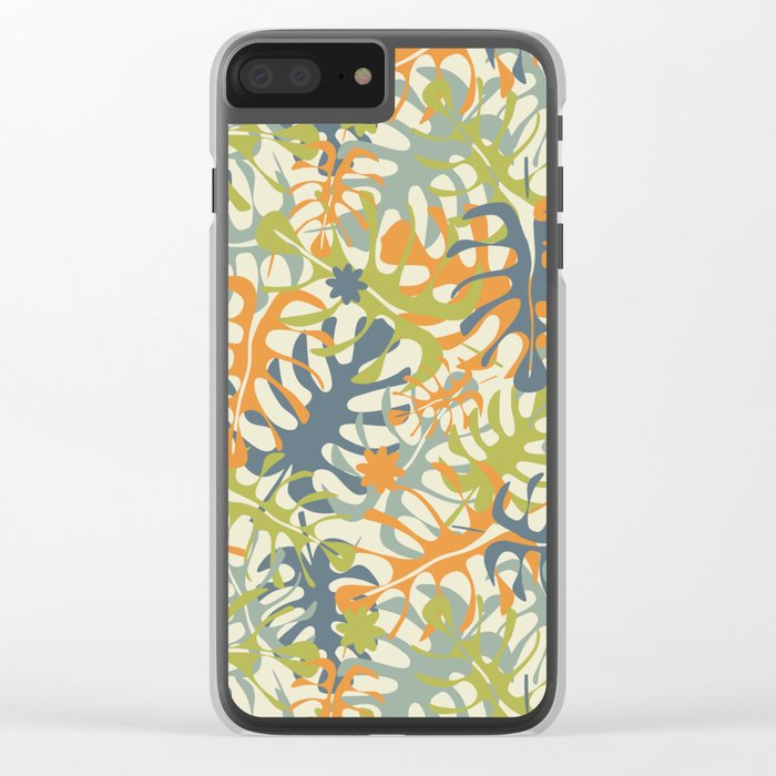Summer tropical leaves Clear iPhone Case