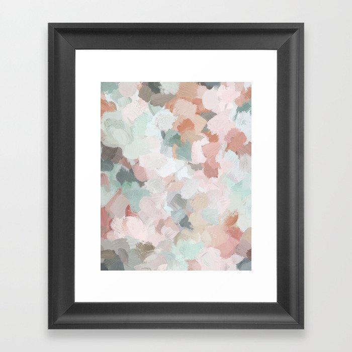 Blush Pink Mint Green Blue Coral Peach Abstract Flower Wall Art Springtime Painting Modern Wall Art Gerahmter Kunstdruck