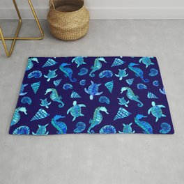 Sea Creatures | Cyan, Navy Blue Marine Animals Pattern Rug