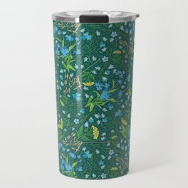 Bluebell and forget-me-nots among yellow tansy and oats Travel Mug
