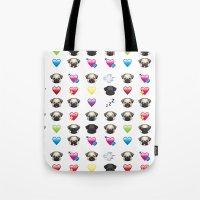emoji Tote Bags featuring Emoji Pug  by Huebucket