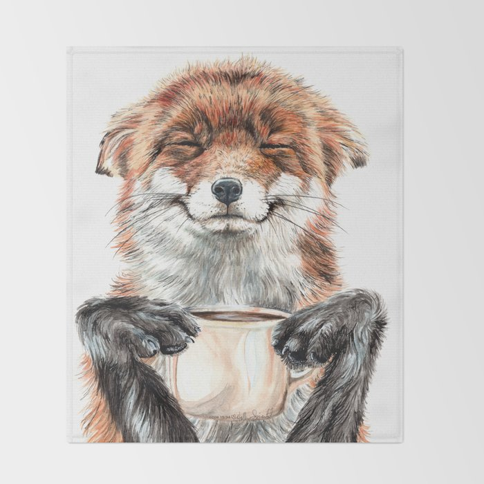 """"""" Morning fox """" Red fox with her morning coffee Throw Blanket"""