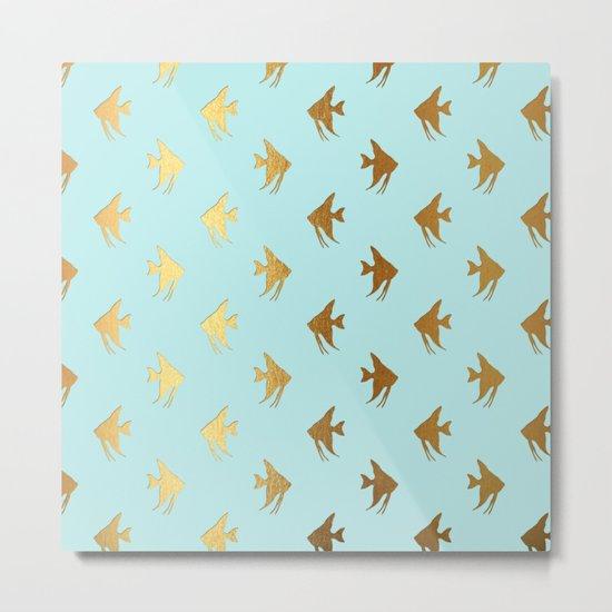 Gold Metal Foil Fish Pattern-Golden Fishes on Aqua Metal Print