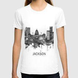 Jackson Mississippi skyline BW T-shirt