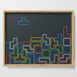 Retro Blocks Video Game Color Pattern Serving Tray