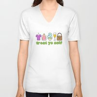 treat yo self V-neck T-shirts featuring Treat Yo Self Doodles by CozyReverie