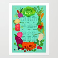 calender Art Prints featuring Veggie Calender 2016 by Darling Planet Earth