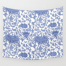 Chinoiserie Vines in Delft Blue + White Wall Tapestry