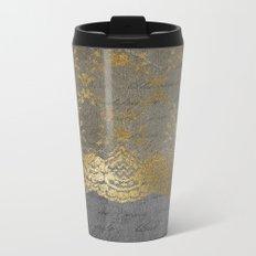Pure elegance I- gold glitter luxury lace on black grunge background on #Society6 Metal Travel Mug