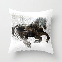 Horse (Winter Canter) Throw Pillow