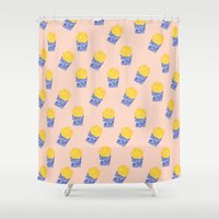 fries Shower Curtains featuring Floral Fries by Bouffants and Broken Hearts
