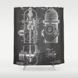 Fire Fighter Patent - Fire Hydrant Art - Black Chalkboard Shower Curtain
