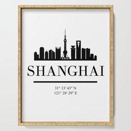 SHANGHAI CHINA BLACK SILHOUETTE SKYLINE ART Serving Tray