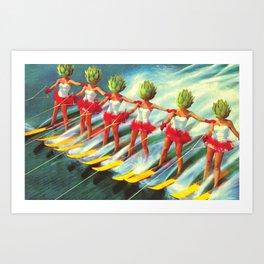 The artichoke skiers Art Print